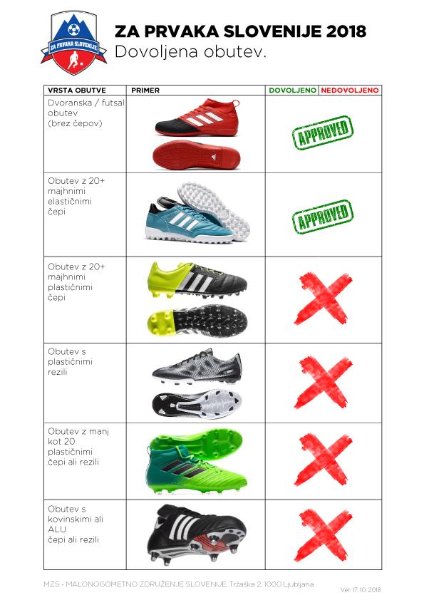 MZS Za Prvaka Slovenije dovoljena obutev