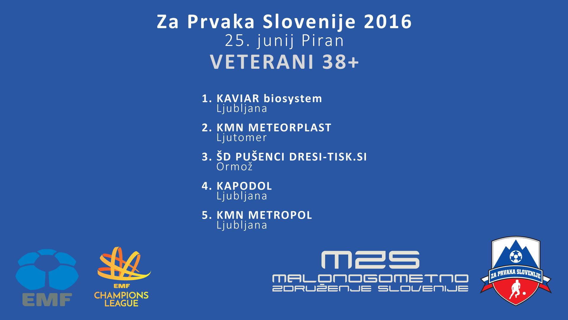 Za Prvaka Slovenije 2016 VETERANI 38+