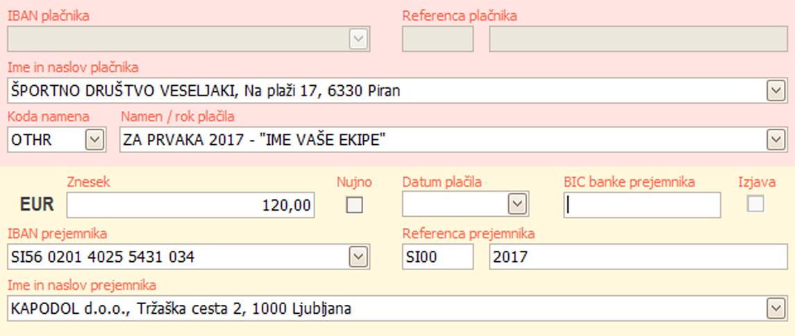 UPN plačilni nalog vzorec Za Prvaka Slovenije 2017