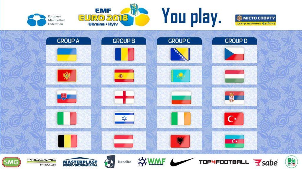 EMF EURO 2018 Kijev Ukrajina skupine
